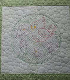 Embroidery on a quilt machine!