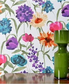 Wallpaper powder room above chair rail. Summer Bloom: Pink/Purple/Blue