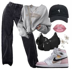 Cute Lazy Outfits, Swag Outfits For Girls, Cute Swag Outfits, Teenage Girl Outfits, Edgy Outfits, Retro Outfits, Fashion Outfits, Mode Streetwear, Streetwear Fashion