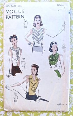 Vogue 9683  Vintage 1940s Womens Dickeys Pattern with by Fragolina, $36.00