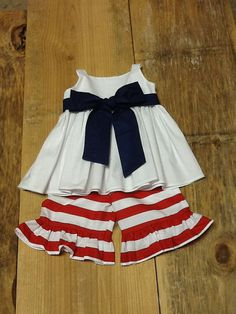 Girls Patriotic Outfit. Peasant Top & Ruffle by EverythingSorella, $58.50