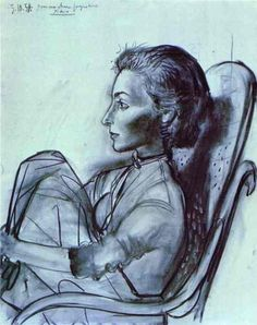 """""""Jacqueline Rocque"""". 1954 year-    Oil and charcoal on canvas - Pablo Picasso"""
