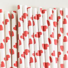 Paper Straws: Candy Apple Red Hearts   Perfect for Valentine's Day (($))