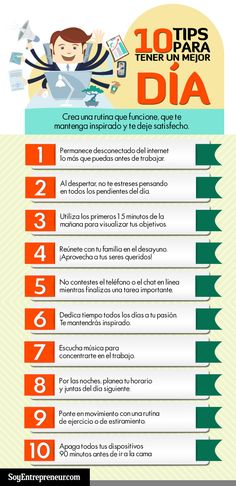 10 consejos para tener un buen día #infografia #infographic  Ideas Desarrollo Personal para www.masymejor.com