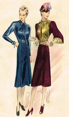 and 9917 in 1938 1938 Fashion, Daily Fashion, Vintage Fashion, Fashion Illustration Vintage, Fashion Illustrations, Fashion Drawings, Mode Vintage, Retro Vintage, Conservative Fashion