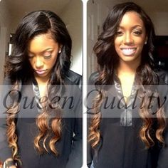 Online Shop FreeShipping Body Wave Indian Virgin Two Tone Lace Front /Full Lace Human Hair Wigs with Bangs for African Chic Hairstyles, Weave Hairstyles, Pretty Hairstyles, Latest Hairstyles, Black Hairstyles, Ombre Hair Extensions, Human Hair Extensions, Weave Extensions, Natural Hair Styles