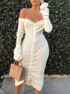 New White Drawstring Off Shoulder Rückenloses Bodycon Langarm Elegant Party Maxikleid Trendy Outfits, Fall Outfits, Cute Outfits, Fashion Outfits, Womens Fashion, Fashion Decor, Dress Outfits, Fashion Killa, Look Fashion
