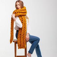 Giant Super Chunky Knit Scarf. Oversized Knit Scarf. XXL Merino Wool Scarf. Winter Knitted Scarf. Super Bulky Scarf. Unisex Scarf. Knitting Kits, Knitting Designs, Hand Knitting, Super Chunky Yarn, Chunky Knit Scarves, Big Knits, Diy Scarf, Wool Scarf, Blanket Scarf