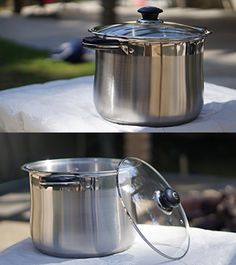 Home N Kitchenware Collection 20-Quart Stockpot w/ Glass Lid, Stainless Steel Encapsulated Aluminium Base