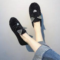 7d313c4a47b Women Faux Fur Loafers Animal Fur Warm Ladies Shoe
