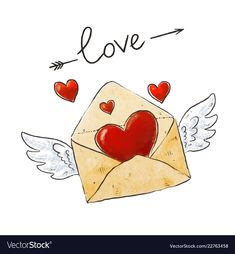 Winged mail love envelope with heart and vector image on VectorStock Valentines Day Doodles, Valentines Day Drawing, Valentine Day Crafts, Valentine Decorations, Happy Valentines Day, Image Positive, Valentines Illustration, Hand Art, Lettering Design