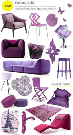focus radiant orchid, as recently revealed by Pantone Color… Unique Furniture, Home Furniture, Lavender Room, Aluminum Blinds, E Design, Interior Design, Old Fireplace, Elegant Homes, Color Of The Year