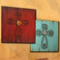 turquoise and red wall decor