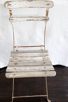 French Bistro Chair . . .white wooden vintage Repinned by www.silver-and-grey.com.   Love these chairs