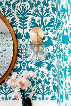 Otomi wallpaper in turquoise