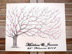 Large Fingerprint Cherry Blossom Tree Wedding Guest book, Hand Drawn in ink, includes 2 ink pads and pen