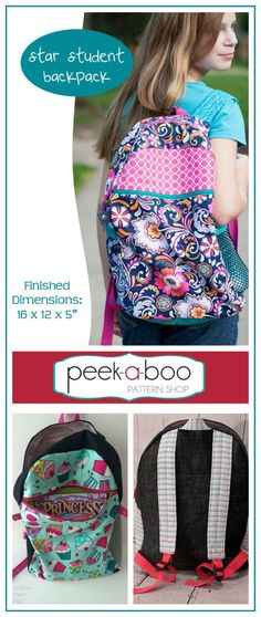 I absolutely LOVE this backpack pattern! I never would have thought I could have made such a nice, sturdy, custom backpack. Star Student Backpack Sewing Pattern, Easy Sewing Tutorial, Student backpack, Handmade Bags Gift, Back to School #sewing #sewingpattern #ad #diy #backpacks #schoo