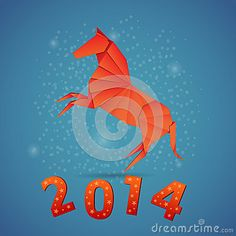 New year origami paper horse 2014 by Yuzach, via Dreamstime