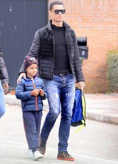 Cristiano Ronaldo is seen with his son Cristiano Ronaldo Jr in Madrid | 21.01.2015