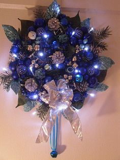 Holiday Twilight Christmas Door Decor,  Blue Silver Holiday Wall Decorations, Holiday Centerpiece, Battery Operated Lights