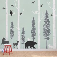 Life like animals and trees for a woodland nursery. ** The birch tree decal is made to be trimmed on either the top or bottom to fit your wall perfectly. Size:9