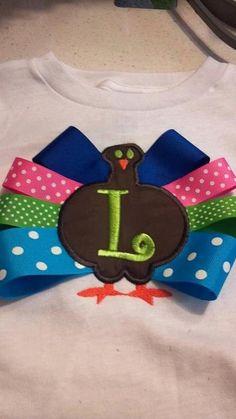 Ribbon Turkey Girls Applique Shirt. $25.00, via Etsy.
