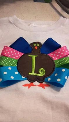 Ribbon Turkey Girls Applique Shirt. $25.00, via Etsy.