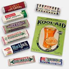 A variety of neat stuff---especially the striped Juicy Fruit label and very old Kool-Aid packet. Kool Aid, Vintage Advertisements, Vintage Ads, Lifesaver Candy, Vintage Sweets, Lemon Kitchen, Vintage Packaging, Juicy Fruit, Childhood