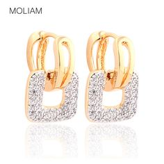 MOLIAM Fashion Design Small Huggie Hoop Earrings for Womens Cluster Paved Zirconia Crystal Stone Earing Jewelry 2016 E218