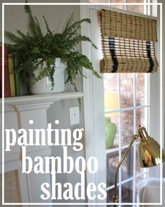 painting bamboo shades:  http://emilyaclark.blogspot.com/2013/04/painted-bamboo-shades-in-our-living-room.html