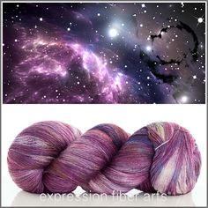 Expression Fiber Arts Yarn - GALACTIC YAK SILK LACE YARN, $39.00 (http://www.expressionfiberarts.com/products/galactic-yak-silk-lace-yarn.html)