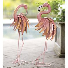 Wind & Weather Feather Flamingo Metal Yard Statue