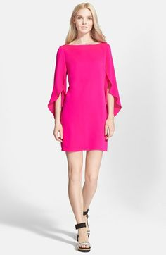 MILLY Butterfly Sleeve Stretch Silk Crepe Dress. #milly #cloth #