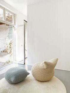 Slumber Poufs by Aleksandra Gaca - made in elastic fabric, highly flexible.
