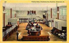 Pittsburgh Pennsylvania PA 1932 Greyhound Bus Terminal Waiting Room Postcard