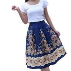 Daisy Dress For Less Midi Skirt Retro Pleated Floral Print Women Midi Skirts