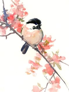 watercolor art, Chickadee, one of a kind watercolor painting, bird art, nursery art, children room, chickadee illustration wall art songbird by ORIGINALONLY on Etsy #watercolorarts