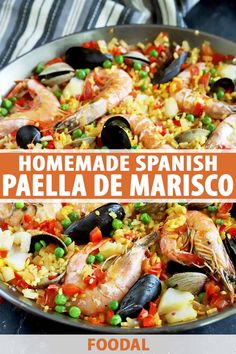 Paella de marisco is a summer seafood favorite in Spain, and it's no wonder why. The rice-based dish brings the best of what's fresh from the sea, with a hearty dose of saffron and pops of fresh green peas. It's absolutely stunning to serve to guests. Get the recipe now on Foodal. #seafoodrecipes #paella #foodal