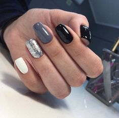 66 Natural Summer Nails Design For Short Square Nails – Page 36 of 66 - Summer Nail Colors Ideen Manicure Nail Designs, Nail Manicure, My Nails, Nail Polish, Nails Design, Black Shellac Nails, Black Manicure, Glitter Accent Nails, Dark Color Nails