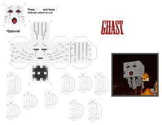 Minecraft, Ghast - foldable paper craft