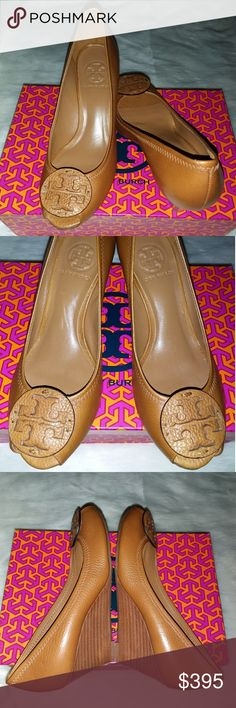 0a4a720243f9 Authentic Tory Burch  Sally Wedge Heel Royal Tan tumbled leather peep-toe  wedge heel embellished with tonal Signature  TT  logo leather medallion