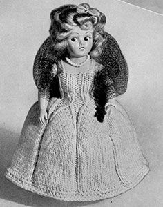Link to download FREE knitting pattern for Debutante Doll knit pattern published in Dolls, Doreen Knitting #104.