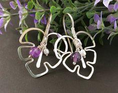 Wire Wrapped Earrings, Leaves Earrings, Amethyst Earrings, Sterling Silver Lightweight Earrings, Wire Wrapped Jewelry, Boho Earrings