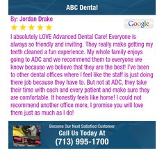 I absolutely LOVE Advanced Dental Care! Everyone is always so friendly and inviting. They...
