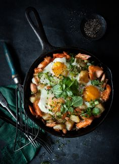 Breakfast Eggs with Flaked Ocean Trout, Crispy Potatoes and White Cabbage