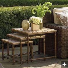 Great outdoor nesting teak-top table set