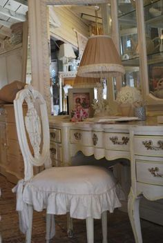I want to make this flirty chair slipcover and find a make up  table with a mirror!