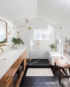 Beautiful bathroom ideas and inspiration - wood, black and white bathroom inspiration Beautiful Bathroom Decor and Design Ideas Bathroom Goals, Attic Bathroom, Bathroom Interior, Small Bathroom, Bathroom Black, Bathroom Vanities, Bathroom Modern, Bathroom Plumbing, Wood Bathroom