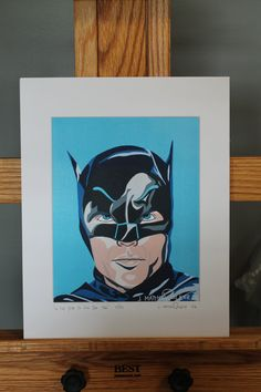 "11""x14"" Limited Edition Hand Signed Adam West Batman MATTED PRINT by JMatthewWelker.  Only 333 ""In The Year Of Our Bat 1966"" prints exist. Each print is hand signed and numbered by the artist.  Mat measures 11""x14"". Print measures 8""x10"". Mounted on 3/16"" foam core board.      Ready to pop right into an 11""x14"" frame! Batman Pop Art, Superhero Pop Art, Adam West Batman, Batman Painting, Ready To Pop, Book Tv, Core, Comic Books, Signs"