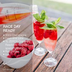 RACE DAY READY   • 100ml Champagne • Fresh lime juice • 1 Litre SodaStream ZEROS Cranberry Raspberry flavoured sparkling water • Raspberries • Ice • Mint. Prepare the flavoured water: Fizz 1 bottle of cold water. Add a capful of SodaStream ZEROS Cranberry Raspberry Flavour. In a glass add ice, champagne, lime juice & a handful of raspberries. Top with Zeros Cranberry Raspberry flavoured sparkling water & serve with a garnish of mint. Enjoy!